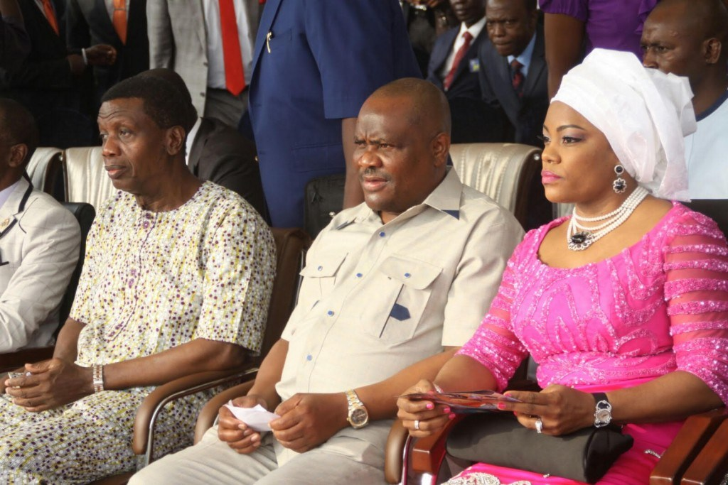 From Left: General Overseer of RCCG, Pastor Enoch Adeboye, Rivers State Governor, Nyesom Ezenwo Wike and wife the governor, Justice Suzzette Nyesom-Wike during the Holy Ghost Rally in Port Harcourt on Sunday.